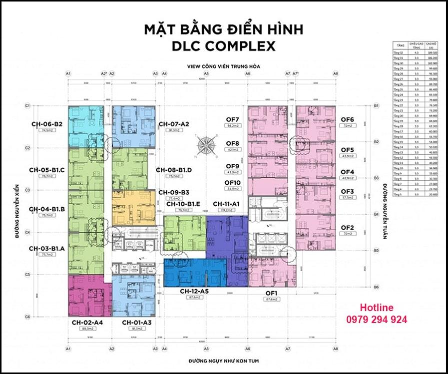 mặt bằng dự án DLC Complex Nguyễn Tuân